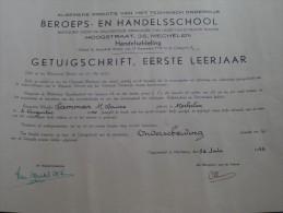 BEROEPS- En HANDELSSCHOOL ( LAMMAR Marie-Louise ) Getuigschrift Mechelen Anno 1953 ( Details Zie Foto ) ! - Diploma & School Reports