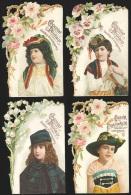 4 Chromos En Relief Chocolat Poulain - Fleurs Et Portraits De Jeunes Filles En Costumes - Poulain