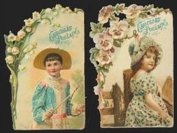 2 Chromos En Relief Chocolat Poulain - Fleurs & Portraits De Jeunes Filles - Poulain