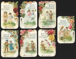 7 Chromos En Relief Chocolat Poulain - Fleurs & Scènes Avec Enfants (retour Des Champs, Retour De La Pêche, …) - Poulain