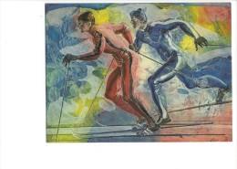 13088 - Ski Par Hans Erni Carte Du CIO 1983  (Format 10 X 15) - Jeux Olympiques