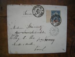 Sénégal & Dépendances, Enveloppe Timbre Papier Quadrillé N°13, Saint-Louis, Dakar à Nancy, Toul 1897, Artillerie Sénégal - Lettres & Documents