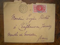 Haut-Sénégal Niger, Enveloppe Timbre N°5, 10c, Bobo Dioulasso, Kayes à Conflans En Jarnisy, Meurthe Et Moselle 1911 - Haut-Sénégal Et Niger (1904-1921)