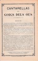 (1898) CANTARELLAS Dels GOIGS DELS OUS (des Oeufs De Pâques) - Chant Religieux Catalan Avec Notice, Paroles & Musique - Documents Historiques