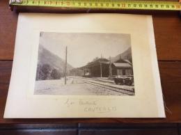 Rare Photo ~1890 De La Gare Cauterets Avec Le Tramway - Foto's
