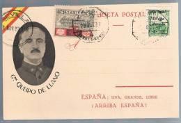 España, 1937, Tarjeta Postal General Queipo De Llano - 1931-Aujourd'hui: II. République - ....Juan Carlos I