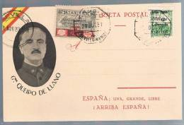 España, 1937, Tarjeta Postal General Queipo De Llano - 1931-50 Brieven
