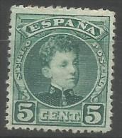 Spain - 1900 Alfonso XIII 5c MH   Sc 266 - 1889-1931 Kingdom: Alphonse XIII