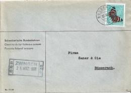 """Motiv Brief  """"Schweizerische Bundesbahnen SBB""""  Zwingen - Büsserach           1951 - Ferrovie"""