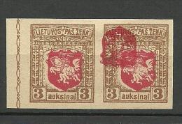 LITAUEN Lithuania 1919 Michel 38 U Proof In Pair + ERROR - Lithuania