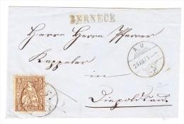 Heimat SG BERNECK Balkenstempel 24.12.1871 Au 5Rp. Sitzende Helvetia Brief Nach Heerbrugg - 1862-1881 Sitzende Helvetia (gezähnt)
