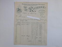 CREIL (60): Facture 1891 Manufacture De Clouterie Mécanique - RIVIERRE - 1800 – 1899