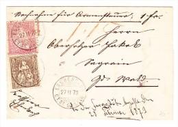 Heimat SG Eschenbach 27.2.1873 Mit 5 Und 10Rp. Sitzende Helvetia Auf Brief Nach Wald - 1862-1881 Helvetia Assise (dentelés)