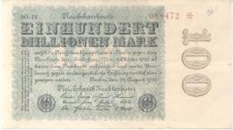 100 MILLIONEN MARK EINHUNDERT MILLIONEN MARK AÑO 1923 REICHBANKNOTE - [ 3] 1918-1933 : Weimar Republic