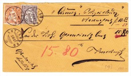 Heimat SG LÜTISBURG 2.2.1881 5 Und 20Rp. Sitzende Auf Nachnahme Brief - 1862-1881 Helvetia Assise (dentelés)