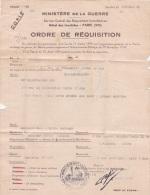 Guerre 39-45 ORDRE DE REQUISITION D'UN APPARTEMENT - Cachet Du MINISTERE DE LA GUERRE - Lettre - WW2 - Documentos Históricos