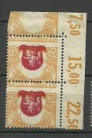 LITAUEN Lithuania 1919 Michel 57 In Pair + ERROR MNH (hinged At Margin Only) - Lituania