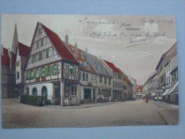 Ref5018 CPA Animée Colorisée De Alzey (Allemagne) - Spiesgasse - 1919 Avenue Avec Commerces Auberge Fontaine - Alzey