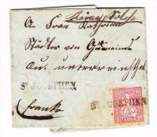 Heimat SG  St Josephen Stabstempel Mit 10Rp. Sitzende Helvetia Auf Brief Mit AK- Fingerhut Stempel AU 14.7.1868 - 1862-1881 Helvetia Assise (dentelés)