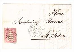 Heimat SG Rapperswyl 29.5.1855 Mit 15Rp. Strubel Auf Brief Nach St. Fiden - 1854-1862 Helvetia (Non-dentelés)