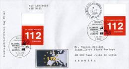 112 (numéro D'appel D'urgence) De L'Union Européenne (25 Ième Anniversaire), Lettre FDC Adressée En Andorre - Secourisme