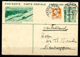 """Schweiz 1932 Bildpostkarte Mi.Nr.P152,10 Rappen-mit Zusatzfrankatur,grün""""Davos-Parsennbahn""""bef.""""Davos-Germany """"1 GS Used - Switzerland"""
