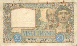 BILLET DE 20 FRANCS SCIENCE ET TRAVAIL BB 1/8/1940 - 1871-1952 Anciens Francs Circulés Au XXème
