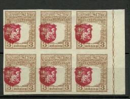 LITAUEN Lithuania 1919 Michel 59 U + ERROR In 6-block MNH/MH (4 Stamps Are MNH, 2 Are *) - Litauen