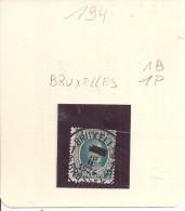 N°  194   Obliteration Central  De  BRUXELLES  1B   1P    Heure Bloquée - 1922-1927 Houyoux