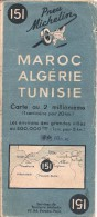 MICHELIN N°151 - Maroc-Algérie-Tunisie - Année 1941 - Couleur Bleue - Cartes Routières
