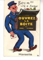 Carte Postale A Système  Boum V'là Le Facteur. Ouvrez La Boîte Et Vous Verez Marseille. - Andere