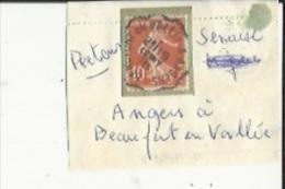 1 Timbre _Tampon Convoyeur - _Angers--a--Beaufort-en-Vallée _Semeuse 10 Cts _Retour - Marcofilia (Sellos Separados)
