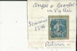 1 Timbre _Tampon Convoyeur - _Angers--a--Beaufort-en-Vallée _Semeuse 25 Cts _Retour - Marcofilia (Sellos Separados)