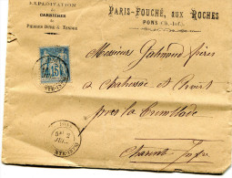 Lettre Et Enveloppe De PONS - PARIS FOUCHÉ Aux ROCHES - Adressée à La Tremblade En 1884 Avec Timbre YT 101 (?) 15c - Pons