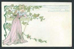 Lithographie Art- Nouveau. 2584.  Jeune Fille Dans Un Verger.  Style Kupka - 2 Scans. - 1900-1949