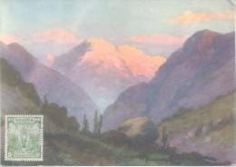 EL SAN RAMON DESDE EL MAIPO RAMON CATALAN PINTOR COLECCION CHILE PINTORESCO NRO. 6 OBLITERE PUERTO MONTT 1930 - Chili