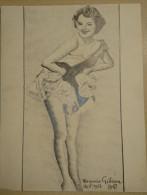Dessin Au Crayon 1951-  Virginia Gibson Actrice Née Virginia Gorski à Saint-Louis, Missouri Le 9 Avril 1928 (2) - Drawings