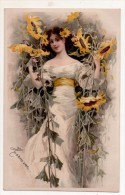 Femme Avec Fleurs Tournesol  Hermine - Illustrateurs & Photographes
