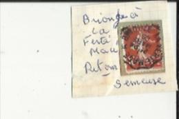 1 Timbre _Tampon Convoyeur - _Briouze_a --La Ferté-Macé_Semeuse 10 Cts_Retour - Marcophily (detached Stamps)