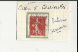 1 Timbre _Tampon Convoyeur - _Caen--a--Courseulles_Semeuse 10 Cts_Retour - Marcophily (detached Stamps)
