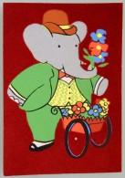 CPA CARTE POSTALE BABAR FLEURISTE 1969 TELE HACHETTE DE BRUNHOFF FEUTRINE COMME NEUVE - Comics
