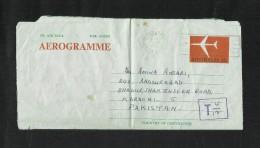 Australia T Postmark  Air Mail Postal Used Aerogramme Cover Australia To Pakistan - Aerogrammes