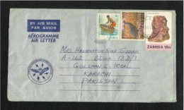 Zambia AIr Mail Postal Used Aerogramme Cover Zambia To Pakistan Animal Birds - Zambia (1965-...)
