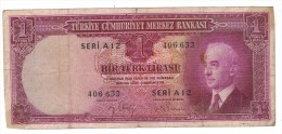 Turkey 1 Lira L. 1930 (1942) Used, Rare, FREE SHIP. TO USA - Turkey