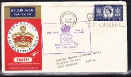 GB 1953 QANTAS Coronation London To Port Moresby Inaugural Flight Cover - 1952-.... (Elizabeth II)