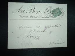 LETTRE TP SEMEUSE 15c OBL.29-10-04 PARIS 115 + AU BON MARCHE MAISON ARISTIDE BOUCICAUT - Unclassified