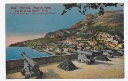 MONACO - N° 1244 - PLACE DU PALAIS - VUE DU CAP FLEURI AVEC CANONS - LEGERES MARQUES - CPA NON VOYAGEE - Fürstenpalast