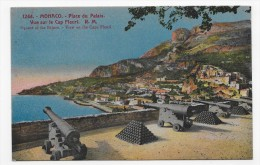 MONACO - N° 1244 - PLACE DU PALAIS - VUE DU CAP FLEURI AVEC CANONS - LEGERES MARQUES - CPA NON VOYAGEE - Palacio Del Príncipe