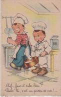 """Illust . J. GOUGEON . Gamins Cuisiniers """"  Chef, Faut-il Saler L'eau? - Penses-tu, C'et Un Poisson De Mer ! ..."""" - Gougeon"""