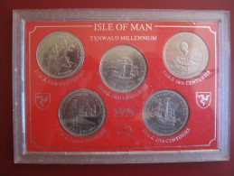 Isle Of Man 1979 5 Crown Coinage UNC Coin Set Tynwald Millennium Cased With  Info Card - Regional Coins